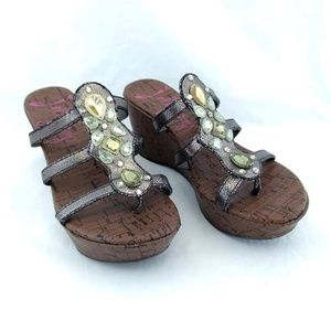 Jellypop Size 7 Wedge Heel Sandals Dark Metallic
